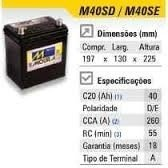 Bateria Automotiva Moura 40ah M40SD - M40SE Honda City Sedan Fit Hyndai Atos - comprar online