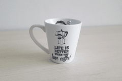 CANECA CÔNICA - LIFE IS BETTER WHEN YOU HAVE COFFEE | UATT? - CLUBE SKOOB