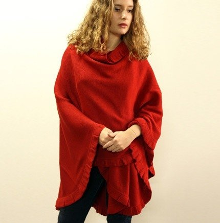 Knit Cape with ruffles