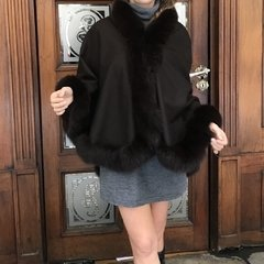 Cashmere & fox cape Short on front, long in back/