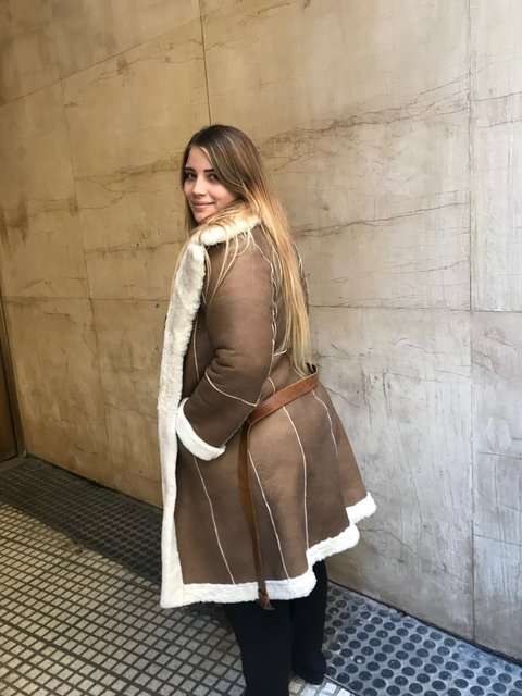 Reversible shearling coat