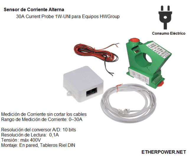 Sensor de Corriente Alterna 30A Current Probe 1W-UNI para Equipos HWGroup