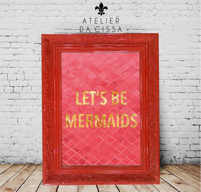 Imagem do -- Let's Be Mermaids (Fundo Rosa ) -- A partir de