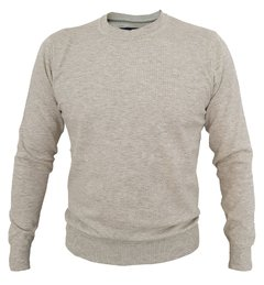 SWEATER LISO CUELLO REDONDO ALGODON COLOR GRIS