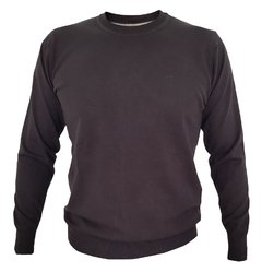 SWEATER LISO CUELLO REDONDO ALGODON COLOR NEGRO