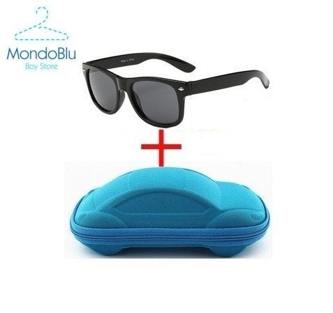 91b78117d Óculos de Sol Menino Preto c/ Porta óculos de carro