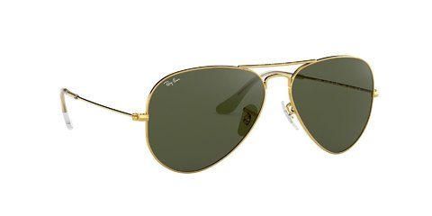 Lentes de Sol Aviator Gold Green G-15 Ray-Ban - Lens Chile