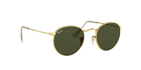 Lentes de Sol Round Flat Gold Green Ray-Ban - Lens Chile