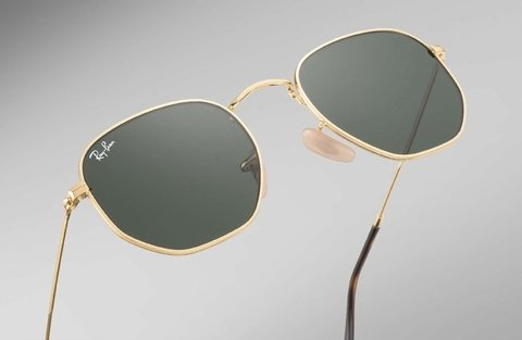 Lentes Ray-Ban Hexagonal Flat Gold Green en internet