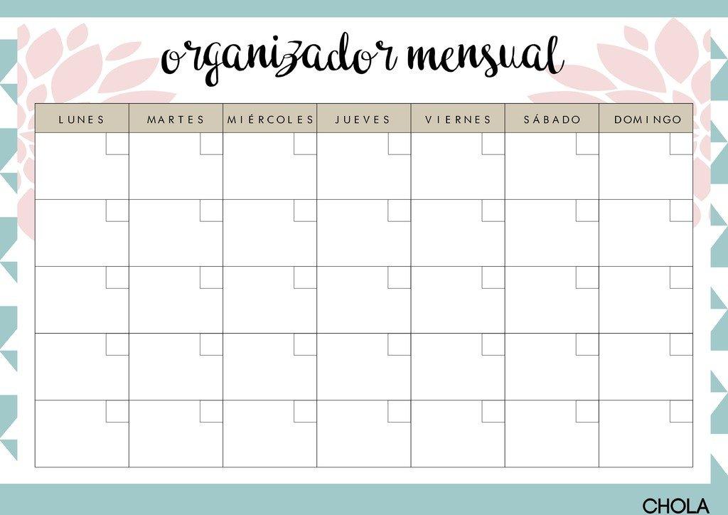 Pizarra organizador mensual this month for Planificador de habitaciones online