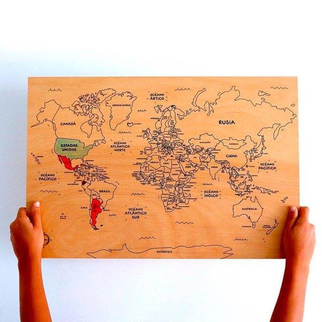 Mapa Mundi De Madera Para Colorear