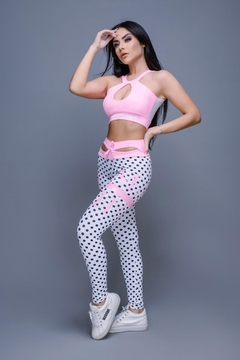 LEGGING PUNCH POA BRANCO COM ROSA BEBE on internet