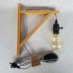 Lampara Mensula Madera Dimmer Cable Textil Tienda Industrial - comprar online