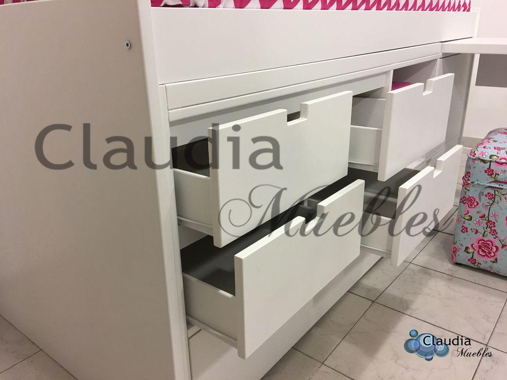 Cama con cajones carro cama y escritorio for Cama 2 plazas con cajones