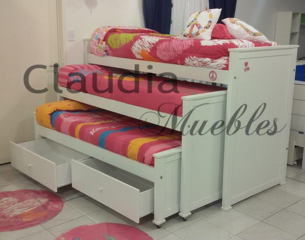 claudia muebles cama nido triple con 2 cajones