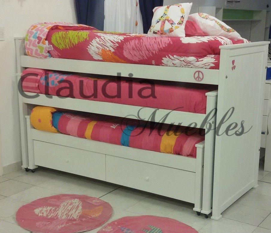 Cama nido triple con 2 cajones claudia muebles for Cama nido con cajones