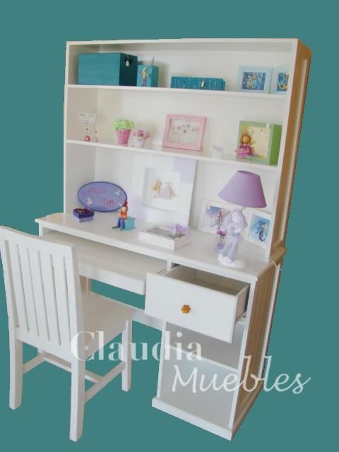 escritorio m sin alzada blanco de madera laqueado infantil juvenil