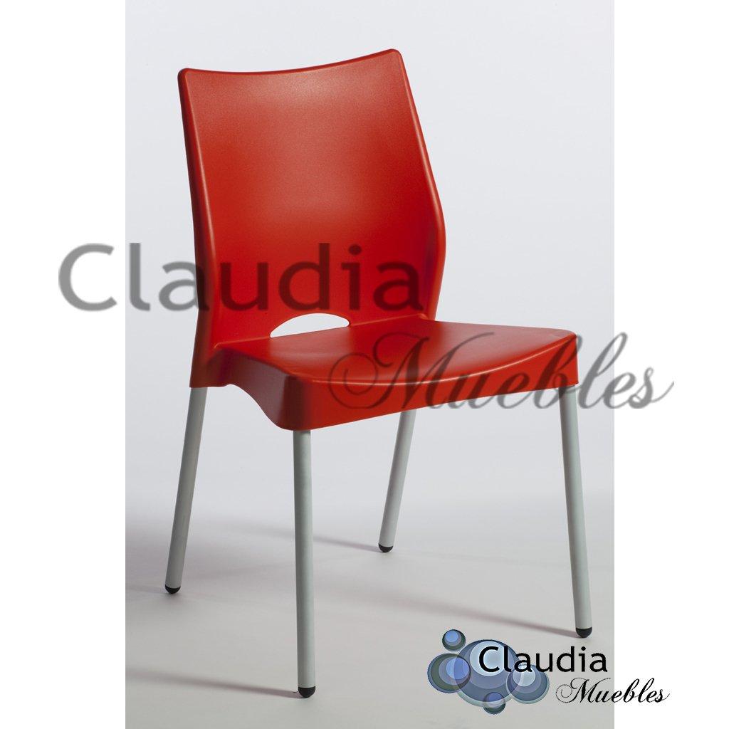 Silla Malba con 4 patas cromadas - Claudia Muebles