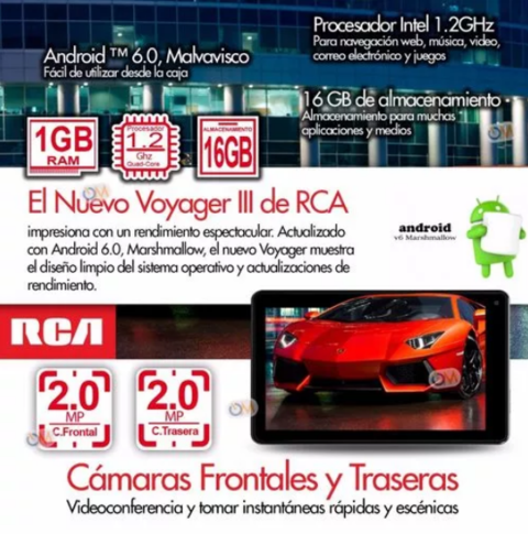 Tablet Rca 7 16gb Android 6.0 Hd Intel Quad Core Dual Cam - tienda online