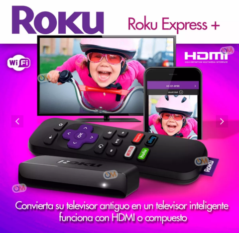 Roku Express+ Plus Smart Tv Hdmi O Tv Antiguos Salida Rca - comprar online