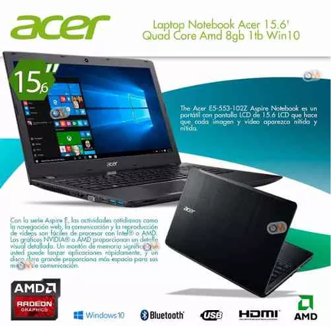 Laptop Notebook Acer 15.6' Quad Core Amd 8gb 1tb Win10 - comprar online