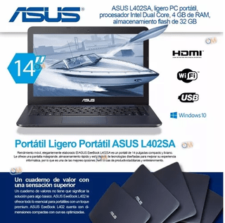 Laptop Notebook Asus Ls402 14'' 4gb 32gb Win10