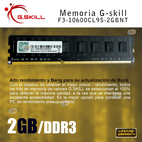 Memoria Gskill High Performance 2gb Ddr3 1333 Mhz. - comprar online