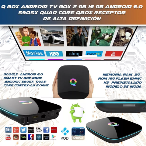 Smart Tv Box Qbox 4k A9 2 Gb 16 Gb S905x Quadcore Android - OFERTAMAYOR