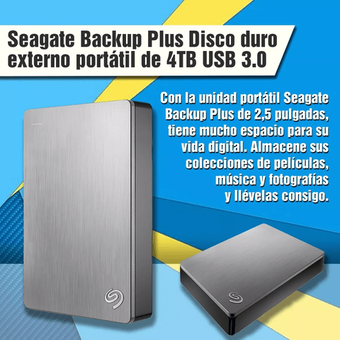 Disco Externo Portatil Seagate Backup Plus 4tb Usb 3.0 - comprar online