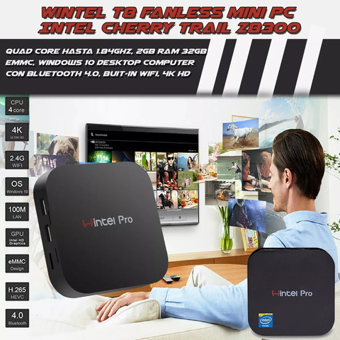 Mini Pc Tv Box Wintel W10 T8 2gb 32gb Bt Hdmi 4k - comprar online