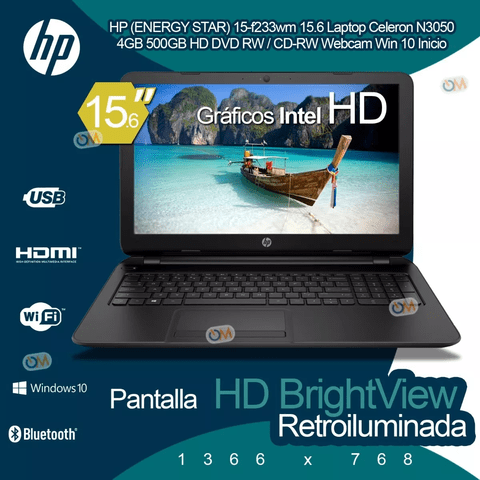 Laptop Notebook Hp 15.6'' Intel 4gb 500gb Win10 Hdmi - comprar online