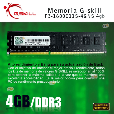 Memoria Gskill Ddr3 1600mhz 8gb High Performance - comprar online