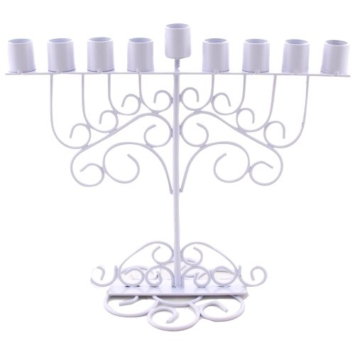 Silvered Metal Menorah 23*27cm, for Oil