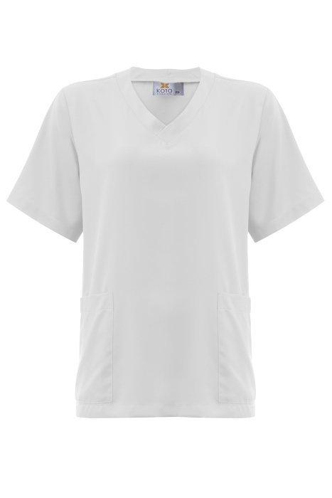 Blusa Pijama Cirúrgico Scrub Feminino 1500 MADELEINE Gabardine Microfibra  Branco 3aa763b49973d