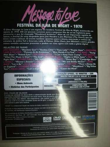 Dvd - Message To Love - Festival Da Ilha Wight - 1970 -usado na internet