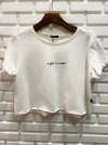 "Cropped T shirts moletinho white ""a girl is a gin"" ZNL"