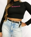 "Cropped black canelado gola alta ""Hollywood"""