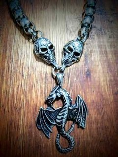 Collar Coble Calavera Acero Dije Dragon Rocker