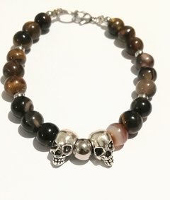 PULSERA DOBLE CALAVERA Y PIEDRAS EXCLUSIVAS!!! en internet