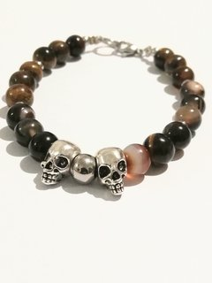 PULSERA DOBLE CALAVERA Y PIEDRAS EXCLUSIVAS!!!