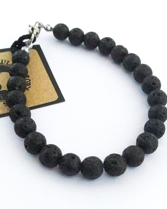 PULSERA ALL BLACK PIEDRAS VOLCANICAS