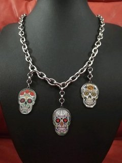 COLLAR CALAVERAS MEXICANAS FULL ACERO  en internet