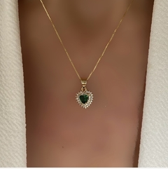 CADENA HEART EMERALD CZ MINK GOLD