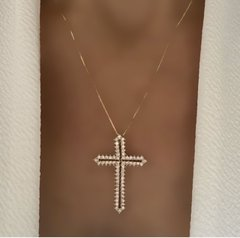CADENA CROSS GOLD CZ