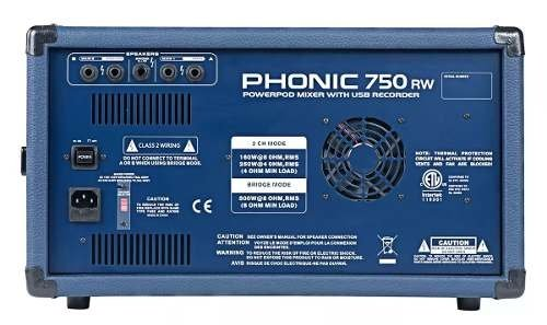 Phonic Power750rw Consola Potenciada 500w Usb Bluetooth - comprar online