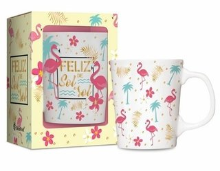 Caneca Porcelana Premium -Flamingo - 280 Ml - Brasfoot