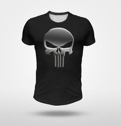 Remera Punisher Fullprint Fondo Negro Melange
