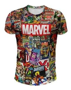 Remera Marvel (fondo Historietas De Color)