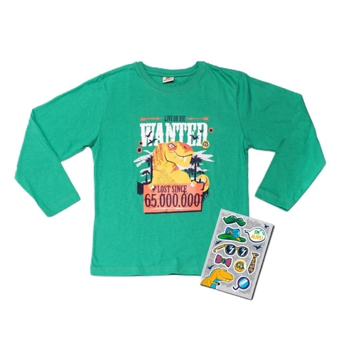 Remera  dino Stickers Verde