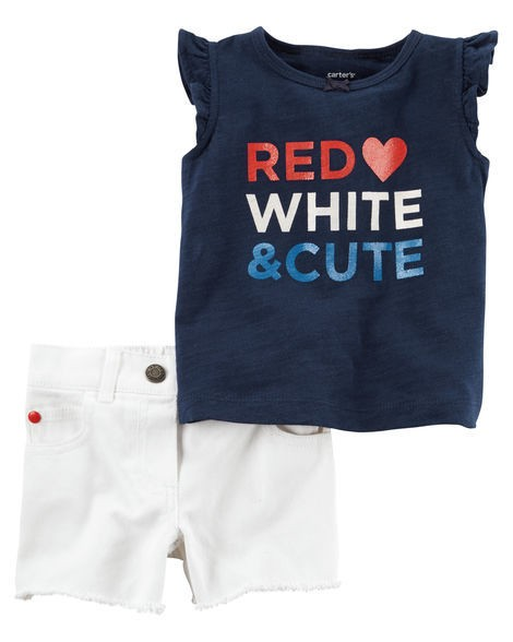 Conjunto de 2 peças -  Carter´s -  Fourth Of July Tank & Denim